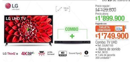 Oferta de Tv led LG + barra de sonido por $1899900
