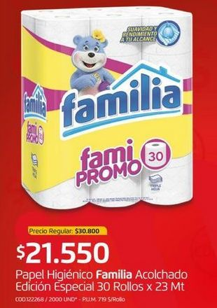 Oferta de Papel higiénico Familia por $21500