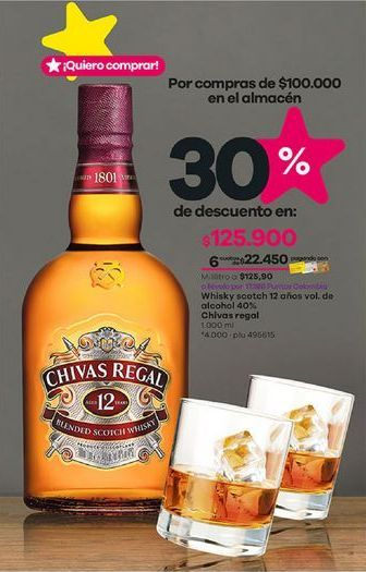 Oferta de Whisky Chivas Regal por $125900