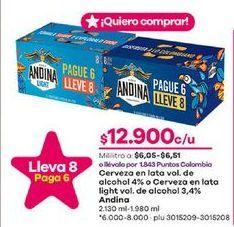 Oferta de Latas de cerveza Andina por $12900