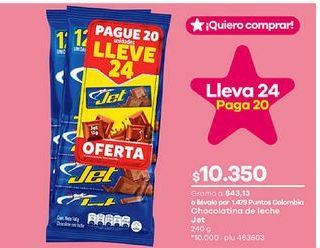 Oferta de Chocolate con leche Jet por $10350