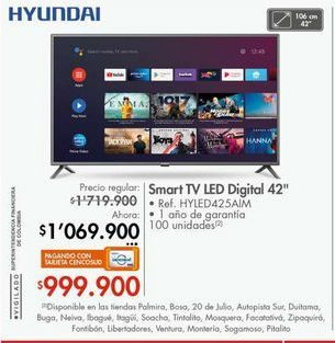 Oferta de Smart tv led 42'' Hyundai por $1069900