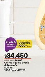 Oferta de Crema hidratante Johnson's por $34450