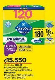 Oferta de Toallas higiénicas Nosotras por $15550