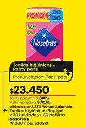 Oferta de Toallas higiénicas Nosotras por $23450