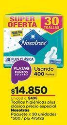 Oferta de Toallas higiénicas Nosotras por $14850