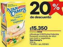 Oferta de Ensalada de atún Van Camps por $15350