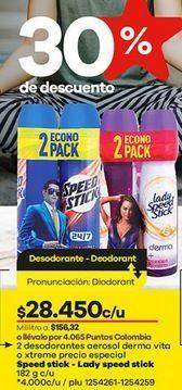 Oferta de Desodorante spray Speed Stick por $28450