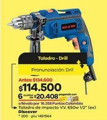 Oferta de Taladro percutor Discover por $114500