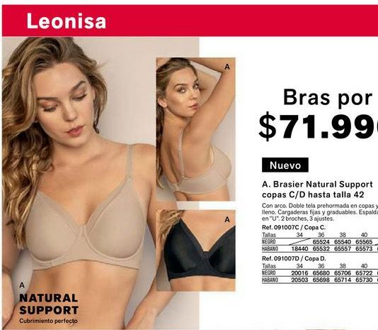 Oferta de Brasier natural support copas C/D hasta talla 42 por $71990