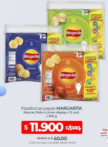 Oferta de Pasabocas Margarita por $11900