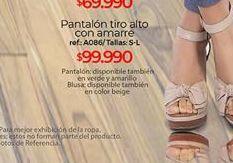 Oferta de Pantalon tiro alto con amarre  tallas S-L por $99990