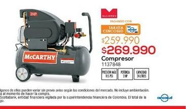 Oferta de COMPRESOR 115PSI 2HP 24LT C/OIL MCCARTHY por