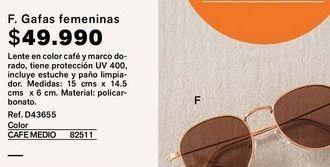 Oferta de Gafas femeninas  por $49990