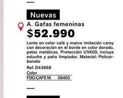 Oferta de Gafas femeninas  por $52990