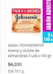 Oferta de Jabón de tocador Johnson's por $6200