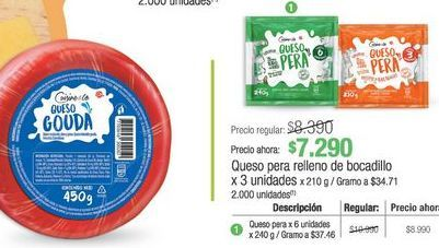 Oferta de Queso para relleno de bocadillo x 3 unidades  por $7290