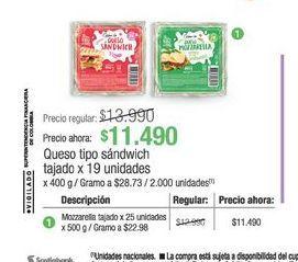 Oferta de Queso tipo sandwich tajado 19 unidades  por $114900
