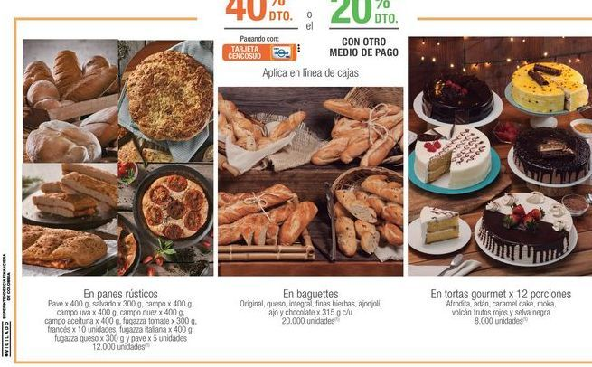 Oferta de Panes rusticos, baguettes , tortas gourmet por