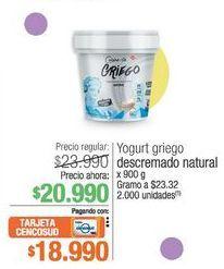 Oferta de Yogurt greigo descrmado natural 900g por $20990