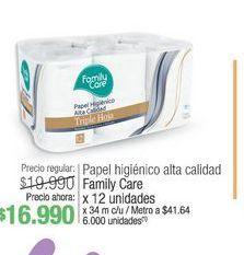 Oferta de Papel higiénico alta calidd FAMILY CARE 12 unidades  por $16990