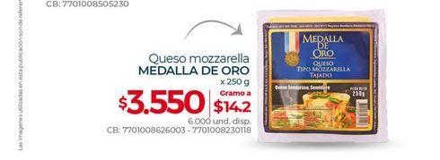 Oferta de Queso mozzarella MEDALLA DE ORO 250G por $3550