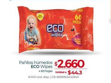 Oferta de Pañitos humedos ECO wipes x 60hojas  por $2660