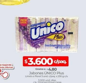 Oferta de Jabones UNICO plus 3und c/paq x 250g  por $3600