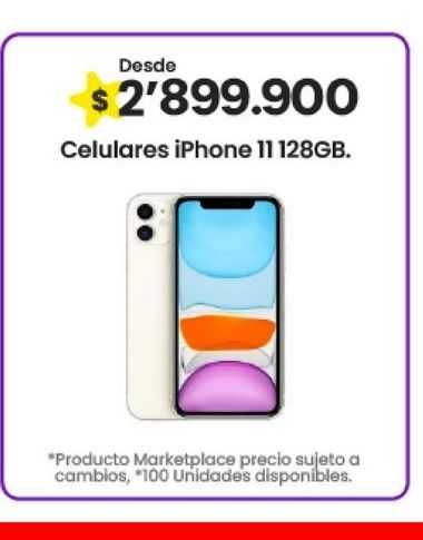 Oferta de Celulares iPhone 11 128gb por $2899900