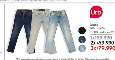 Oferta de Jeans niña por $39990
