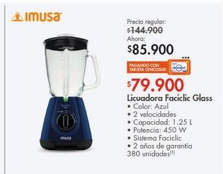 Oferta de Licuadora Imusa 1,25l  por $85900