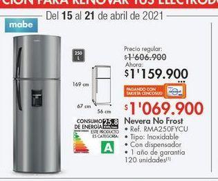 Oferta de Nevera Mabe 250l  por $1159900
