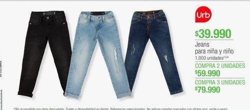 Oferta de Jeans para niña y niño  por $39990