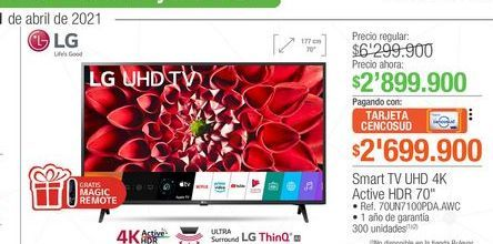 Oferta de Smart tv UHD 4k active HDR 70'' por $2699900