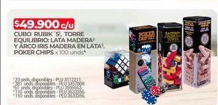 Oferta de Cubo rubik, torre de equilibrio lata madera y arco iris madera en lata. Pocker chips  por $49900