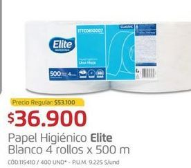 Oferta de Papel higiénico Elite por $36900
