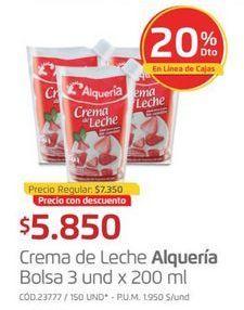 Oferta de Crema de leche Alquería por $5850