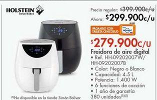 Oferta de Freidora de aire digital HOLSTEIN por $299900