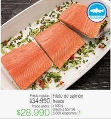 Oferta de Filete de salmón fresco x 500 g por $28990