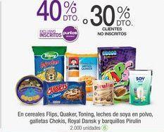 Oferta de En cereales Flips, Quaker, Toning, leches de soya en polvo, galletas Chokis, Royal Dansk y barquillos Pirulin  por