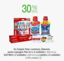 Oferta de En Colgate Total, Luminous, Naturals, packs enjuague Plax Ice x 2 unidades x 500 mI c/u, Soft Mint x 2 unidades x 500 mI c/u y cepillos x 5 unidades por