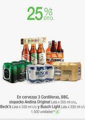Oferta de En cervezas 3 Cordilleras, BBC, Andina Original, Beck's  y Busch Light  por