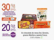 Oferta de En chocolate de mesa Sol, Gironés, granos Maritza y panela Fonce por