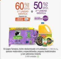 Oferta de En jugos Tampico, leche deslactosada x 6 unidades x 1.100 mI c/u, quesos madurados y especializados, yogures tradicionales y con adiciones Colanta por