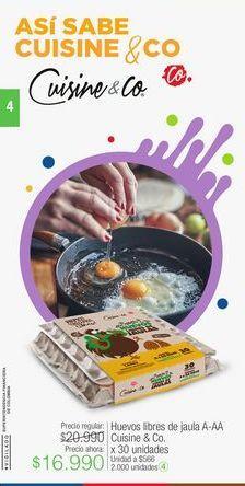 Oferta de Huevos libres de jaula A-AA Cuisine & Co. x 30 unidades por $16990