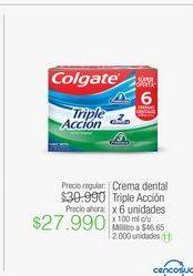 Oferta de Crema dental Triple Acción x 6 unidades por $27990