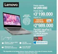 Oferta de Portatil Ideapad 5 Lenovo por $3199000