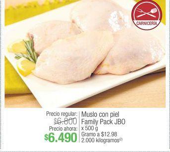 Oferta de Muslo con piel Family Pack JBO 500 gr por $6490