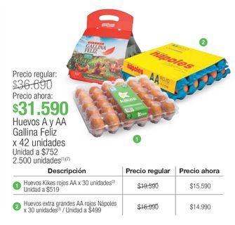 Oferta de Huevos A y AA Gallina Feliz por $31590