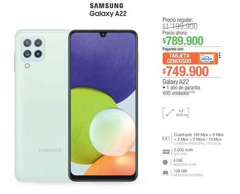 Oferta de Celulares Samsung A22 por $749900